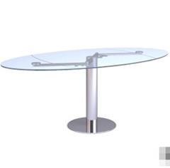 The Elliptic transparent glass table