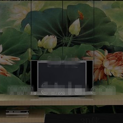 Chinese lotus pond screen TV wall
