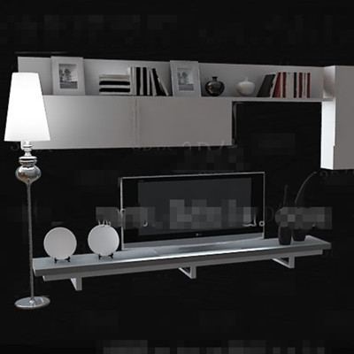 White minimalist display style TV wall