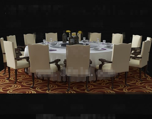 Beige Round Table And Chairs Combination 3d Model Download
