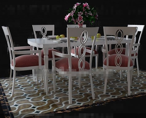 Fresh pink and white dinette combination