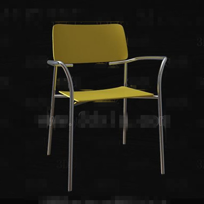 Fashion pale yellow metal legs chair