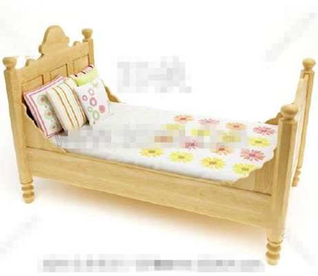 Primary color wooden children bed