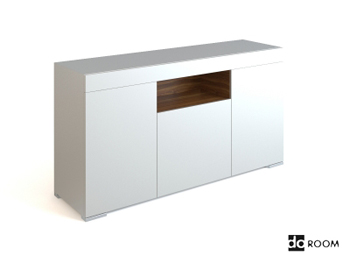 Beau Simple Style White Low Lying Cabinet