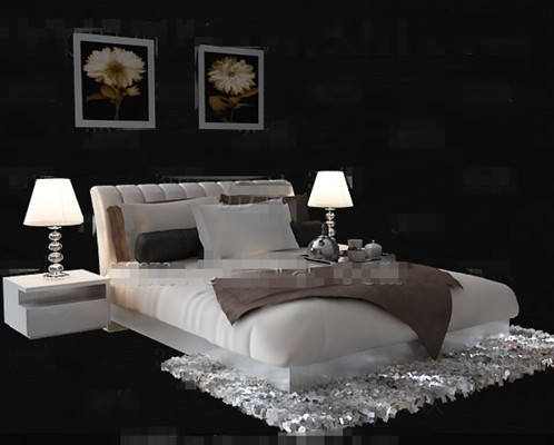 Simple and comfortable white double bed