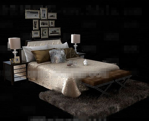 Gold Luxury Double Bed 3d Model 3d Model Download Free 3d