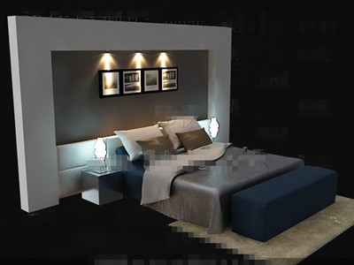 Elegant Simple Blue Double Bed 3d Model Download Free 3d