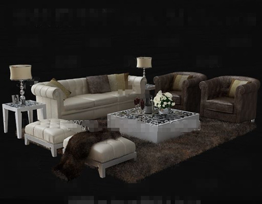 Luxury cortical white sofa combination