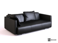 Black soft leather three seats sofa