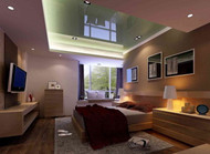 Glass ceiling spotlights surrounded bedroom