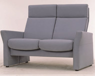 Modern dark gray double high back sofa