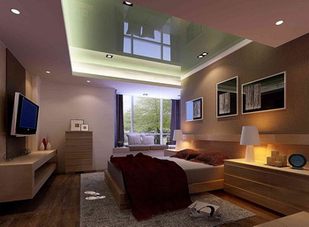 Modern glass ceiling warm bedroom