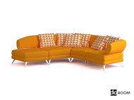 Modern warm yellow three seats sofa