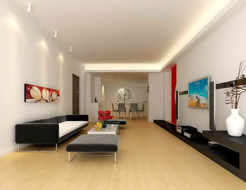 Large space long and narrow living room