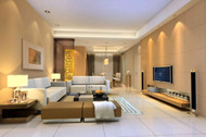 Modern warm color spacious living room