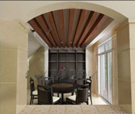 Simple retro wooden ceiling dining room