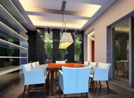 Modern natural forest scenery dining room