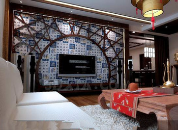Chinese style retro wood structure living room