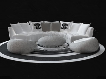 White Circular Sofa Combination 3d Model Download Free 3d