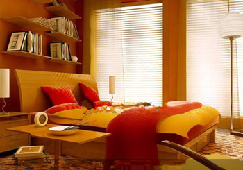 Comfortable and warm yellow bedroom