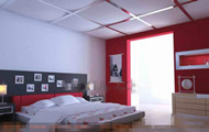 Modern and stylish white red bedroom