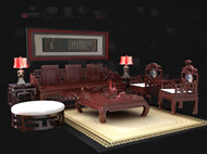 Chinese style red wooden tea table combination