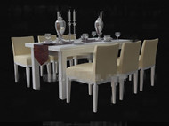 Pale yellow wooden table and chairs combination
