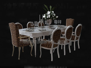 Attractive White Long Shaped Dining Table Combination. Keywords:table,furniture  Combination,3D Models,free Download