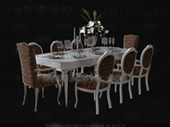 White long-shaped dining table combination
