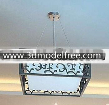 Chinese Carved Square Pendant Lamp 3D Model DownloadFree