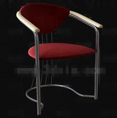 Dark red metal feet chairs