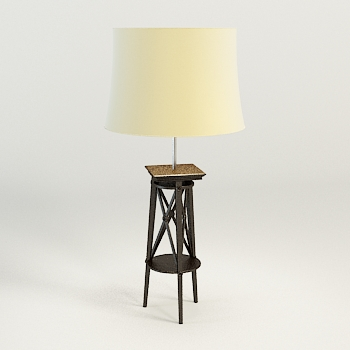 Modern wooden base floor lamp