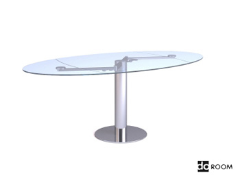 Glass surface oval table