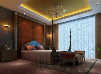 European luxury bedroom scene model
