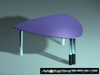 The stylish triangular plastic table 3D model