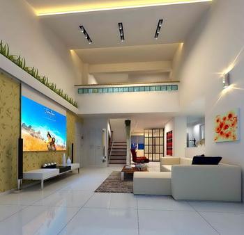 No color line penthouse living room model