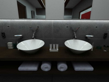 Indoor space 3D bathroom model