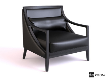 Black leather sofa armchair 3D model
