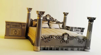 Continental sets of bed 3D model