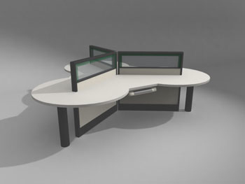 Modern office desk model