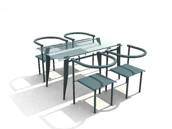 Blue glass 3D model of elegant dining tables and chairs