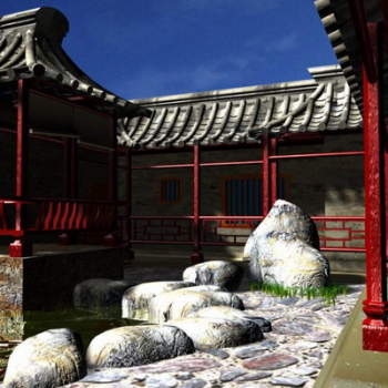 Chinese building walls 3D model