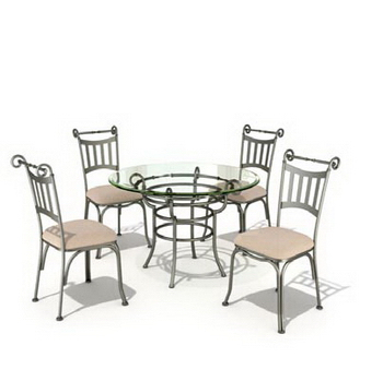 Vitreous combination of casual dining tables and chairs