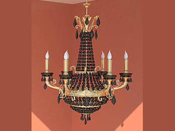 Black retro candle chandelier model