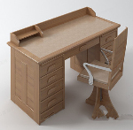 Solid wood desk model