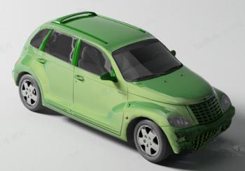 Green 3d model cars