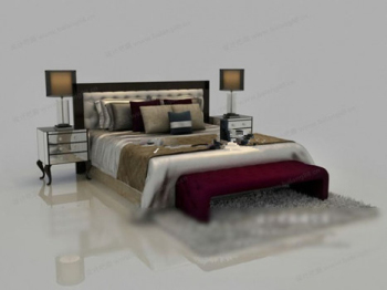 Classic style double bed 3d models