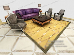 European-style sofa set 3d models