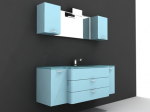 Blue with white cabinetry 3d models