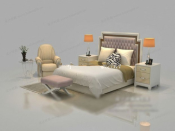 Chinese small bed 3d model